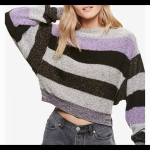 NWT-Free People Candyland Black & Purple Sweater